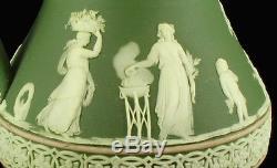 Antique Wedgwood Jasperware Pichet Cruche Sage Vert Design Néoclassique