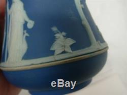 Antique Wedgwood Wedgwood Dark Blue Jasperware 6 3/4 De Sucre Marqué Markgwood