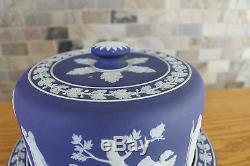 Antiquité Wedgwood Cobalt Blue Jasper Ware Grand Plat De Fromage À Dôme (vers 1800)