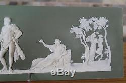 Antiquité Wedgwood Olive Green Jasper Ware Le Choix De La Plaque D'hercule (vers 1870)