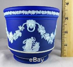 Atq Wedgwood Blue Jasperware 4 Jardiniere Urne Figures Néoclassiques Tête De Lion