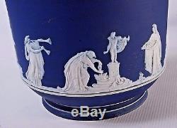 B383e Adams Jardiniere Cache Pot Jasperware, En Blanc Sur Bleu Cobalt