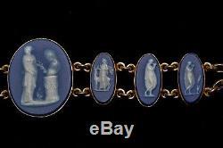 Belle Antique Anglais Bleu & 14k Gold Wedgwood Cameo Bracelet Jasperware