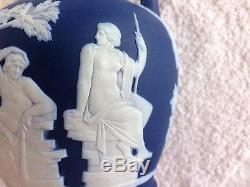 C. 1895 Wedgwood Dark Blue Trempette Jasper Ware 6 Portland Vase Mint & Nice