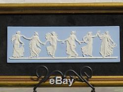 Classique Vintage Wedgwood Blue Jasper Ware Danse Heures Plaque Encadrée