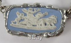 Collier Vintage Grand Jasperware Wedgwood Argent Sterling 117 Grammes 20 Pouces