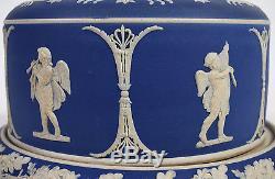 Dôme Et Doublure De Fromage Jasper Blue Cobalt Antique Motif De Chérubin Cupidon Wedgwood