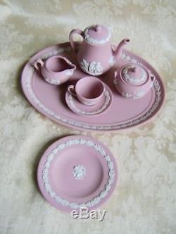 Ensemble De Café / Thé Miniature Wedgwood Pink Jasperware