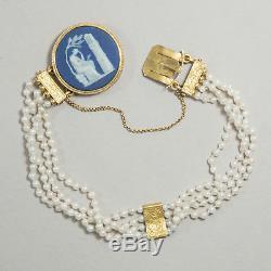 Gedenke Mein, Antikes Brassard D'or Wedgwood Perlen Schweden 1818 / Jasper Ware