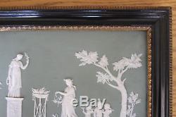 Grande Antiquité Wedgwood Vert Jasper Ware Offrant La Plaque Encadrée De La Paix (vers 1800)