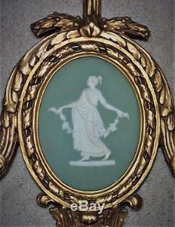 Large Paire De Bougeoirs Muraux Victoriens Antiques De Wedgwood Jasperware