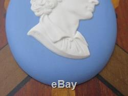 Médaillon Ovale Vintage Wedgwood Blue Jasper Médaille John Keats Ovale