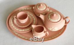 Miniatur Teaset Teeservice Wedgwood Jasper Jaspis Rose & Weiss / Rose Et Blanc