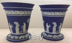 Paire De Jasperware Dark Royal Bleu Trompette Fleur Vases Neoclassic