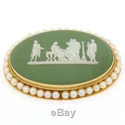 Pendentif Broche Jaspe En Or Jaune 14 Carats, Or Anglais, Avec Cadre En Perles