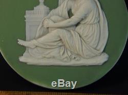 Plaque De Médaille Jasperware Wedge Antique Vert Sage Toutes Capitales 18ème / 19ème