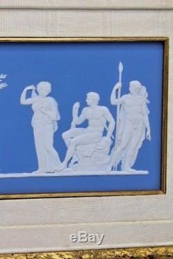 Plaque Encadrée Vintage Wedgwood Jasperware Intitulée Hercules Dans Le Jardin