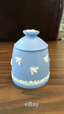 Pot De Miel D'abeille Wedgwood Blue Jasperware Rare