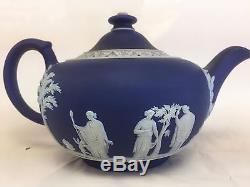 Pot De Thé Wedgwood Royal Dark Blue Jasper 5 H 8 W Blanc À L'intérieur
