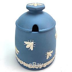 Rare Années 1950 Wedgwood Jasperware Blue Honeypot Couvert Crème Angleterre