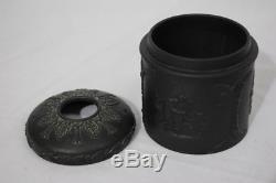 Rare Vintage Wedgwood Basalt Black Jasperware 3 Pot De Réceptrice De Cheveux Aveclid Angleterre