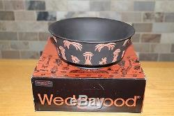 Rare Vintage Wedgwood Terracotta Noir Jasper Ware Égyptien Rond Bol Du Nil