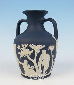 Rare Wedgwood Jasperware 1972 Portland Bleu 6 Vase Jasper Ware Avec Boîte Angleterre
