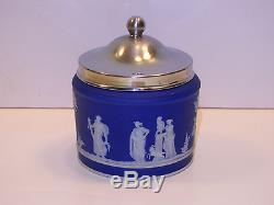 Trempette Bleu Foncé De Wedgwood Trousse De Marmelade De Jaspe C. 1880