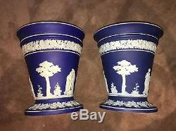Vases / Jardinières De Wedgwood Blue Dipped Jasperware