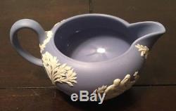 Vintage Bleu Wedgwood Jasperware Ensemble De Thé Écrémé Sucrier Tasses Assiettes Théière