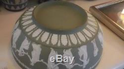 Vintage Vert Wedgwood Jasperware Heures De Danse Sacrifier Bol 10 1/4 Excellent