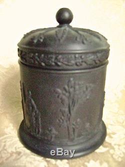 Vintage Wedgwood Black Basalt Jasperware Bouteille À Tabac Conteneur À Lidded