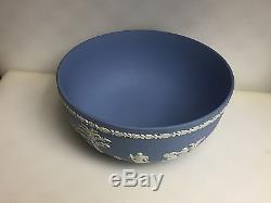 Vintage Wedgwood Blanc Sur Bleu Bol À Servir Jasperware. Fait En Angleterre