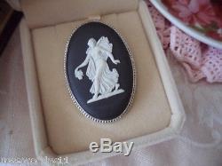 Vintage Wedgwood Broche Pin Noir Jasper Blanc Jasperware Cadre En Argent