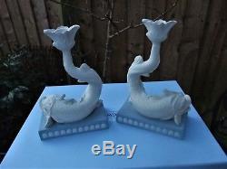 Vintage Wedgwood Jasperware Paire De Bougeoirs Dolphin En Édition Limitée C2000