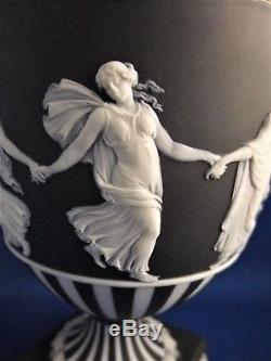 Vintage Wedgwood Noir Et Blanc Rayé Jasperware Urne C1955 Dancing Hours