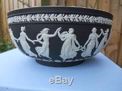 Vintage Wedgwood Noir Jasperware Grand Bol Des Heures De Danse C1997 Signé