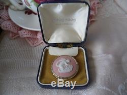Vintage Wedgwood Sterling Argent Broche Pin Rose Et Blanc Jasperware Wedgewood