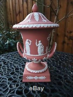 Vintage Wedgwood Terracotta / Pink Jasperware Grande Urne À Couvercle C1958