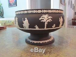 Wedgwood Black Jasperware Impérial Piédestal Bowl Angleterre Scène Classique