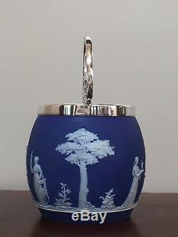 Wedgwood Blue Jasperware Bocal À Canon Biscuit Antique Et Couvercle Circa 1800s