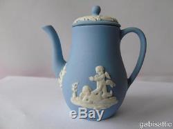 Wedgwood Blue Jasperware Miniature 12 Pcs Enfant Maison De Poupée Thé Café Ensemble & Plateau
