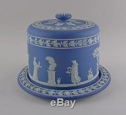 Wedgwood Crème Sur Wedgwood Bleu Gâteau Safe Jasperware Domed Server