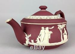 Wedgwood Crimson- C19e Rouge Vin Dip Jasper Ware Neoclassical Thé Coffee Pot Jug