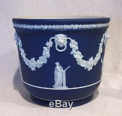 Wedgwood Grand 7 Cache-pot De Jasperware Bleu Foncé