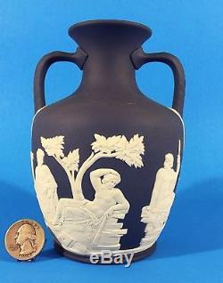 Wedgwood Jasperware 6 Cobalt Bleu Portland Vase 2 Poignée Urne