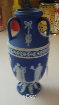 Wedgwood Jasperware Antique Portland Bleu Trempette 6 19e S. Urne Vase Grecque Nice