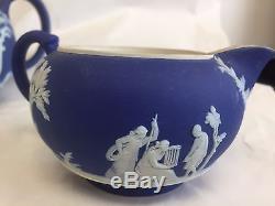 Wedgwood Jasperware Bleu Royal Wedgwood Blue 3 Pc Thé Ensemble Théière Crème Sucre
