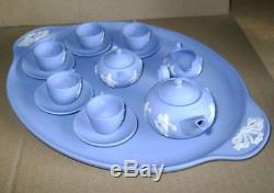 Wedgwood Jasperware Blue Miniature Dancing Heures Service À Thé Et Plateau