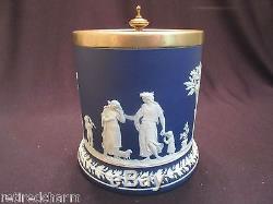 Wedgwood Jasperware Project Fix It Poignée Blue Biscuit Biscuit Tea Barrel Jar 1891